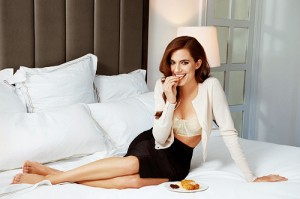 Allison Williams in bed