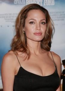 Angelina Jolie sexy black dress