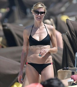 Heidi Klum in a bikini at the beach in the Bahamas