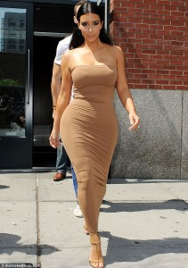 Kim Kardashian hot brown dress