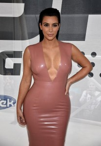 Kim Kardashian in latex dress