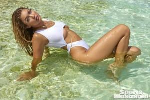 Gigi Hadid sexy white swimsuit