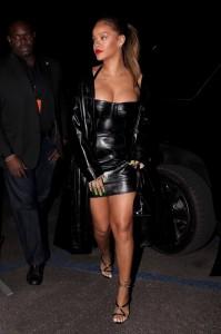 Rihanna sexy leather dress