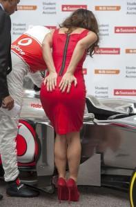 Myleene Klass in red dress