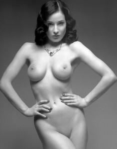Dita Von Teese bw nude