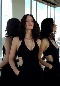Emily Blunt sexy black dress