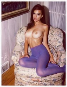 Emily Ratajkowski in pantyhose topless