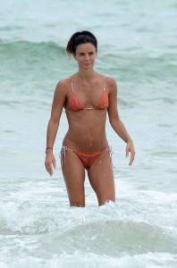 Gabrielle Anwar hot orange bikini