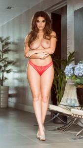 Holly Peers topless red panty