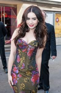 Lily Collins sexy bra