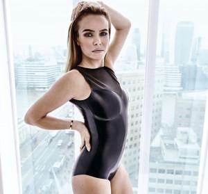 Amanda Holden black swimsuit