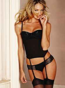 Candice Swanepoel black pantyhose