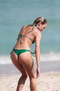 Candice Swanepoel paparazzi sexy green bikini