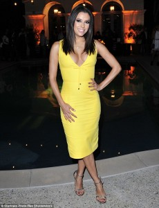 Eva Longoria sexy yellow dress paparazzi