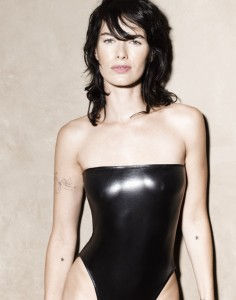Lena Headey sexy leaather swimsuit