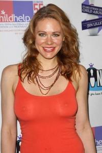 Maitland Ward nipples red dress
