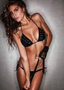 Nina Senicar sexy black bikini
