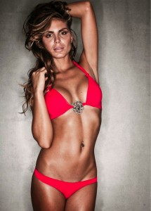 Nina Senicar sexy red bikini