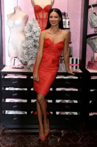 Adriana Lima in sex red dress photo