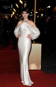 Anne Hathaway in white dress