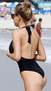 Charlotte Mckinney at beach candids
