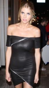 Charlotte Mckinney black dress pokies