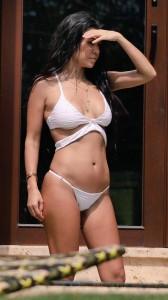 Kourtney Kardashian hot white bikini