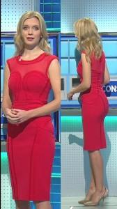 Rachel Riley sexy red dress