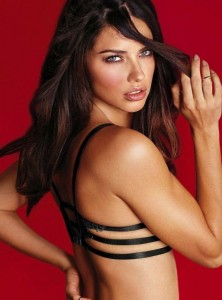 Sexy Adriana Lima in black bra