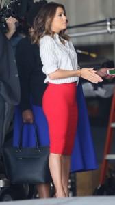 Eva Longoria in sexy red suit