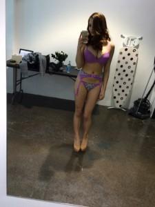 Lacey Banghard purple lingerie
