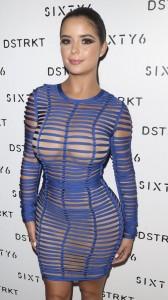 Demi Rose Mawby see through blue dress