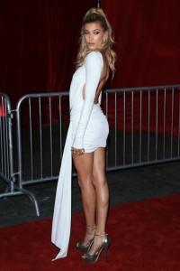 Hailey Baldwin sexy white dress