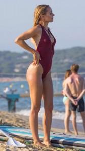 Kimberley Garner red swimsuit