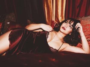 Stella Hudgens hot black lingerie
