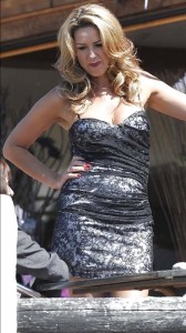 Claire Sweeney silver mini dress