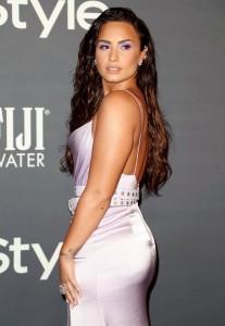 Demi Lovato sexy silver dress