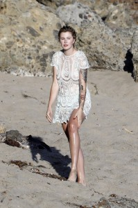 Ireland Baldwin see thru dress