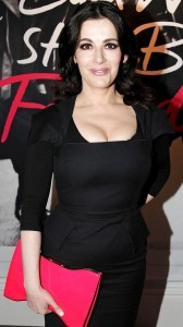 Nigella Lawson cleavage black dress