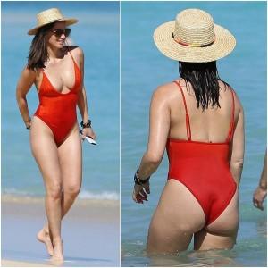 Olivia Munn red swimsuit
