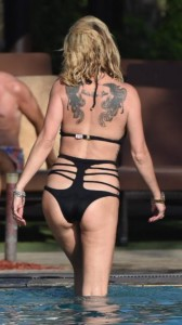 Sarah Harding sexy black swimsuit