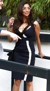 Shobna Gulati sexy tight blue dress