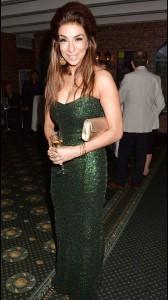 Shobna Gulati tight green dress