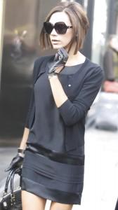 Victoria Beckham sexy black costume