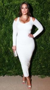 Ashley Graham sexy white dress