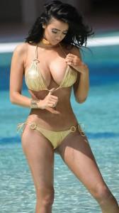 Chloe Khan gold bikini