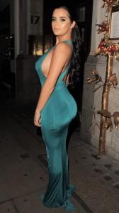 Demi Rose sexy green dress