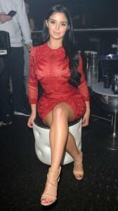 Demi Rose tight red dress