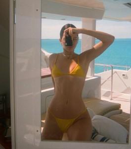 Kendall Jenner tight yellow bikini