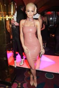 Rita Ora leather pink dress